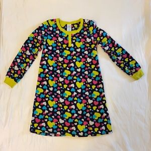 Children's Place flannel nightgown hearts pjs 7/8
